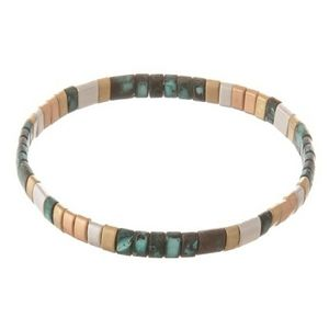 Bracelet--Turquoise Stretch Tila Beads